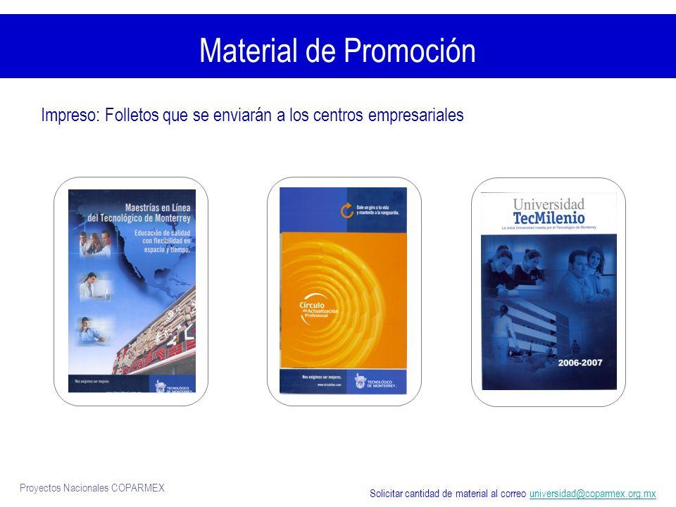 Material de Promoción Impreso: Folletos que se enviarán a los centros empresariales.