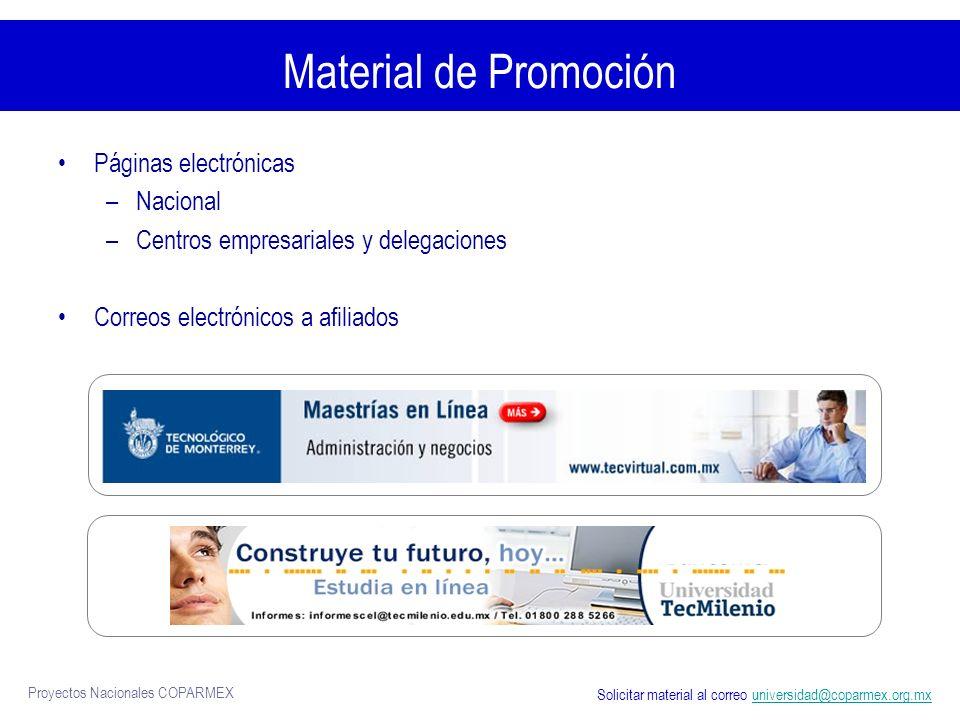 Material de Promoción Páginas electrónicas Nacional