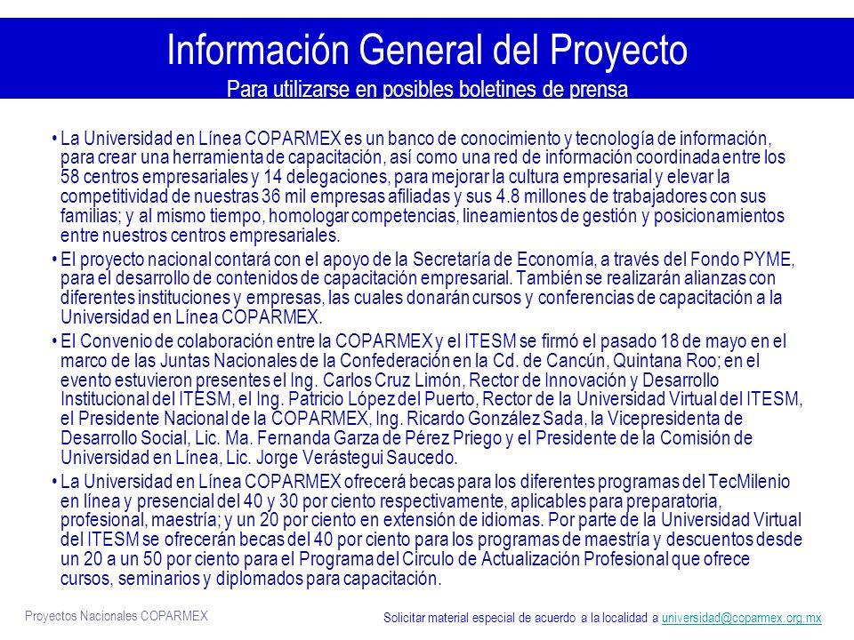 Información General del Proyecto Para utilizarse en posibles boletines de prensa