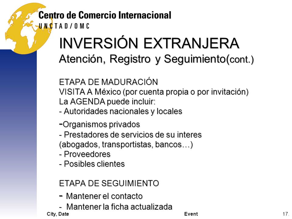 INVERSIÓN EXTRANJERA Atención, Registro y Seguimiento(cont