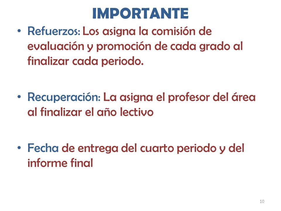 IMPORTANTE Refuerzos: Los asigna la comisión de evaluación y promoción de cada grado al finalizar cada periodo.