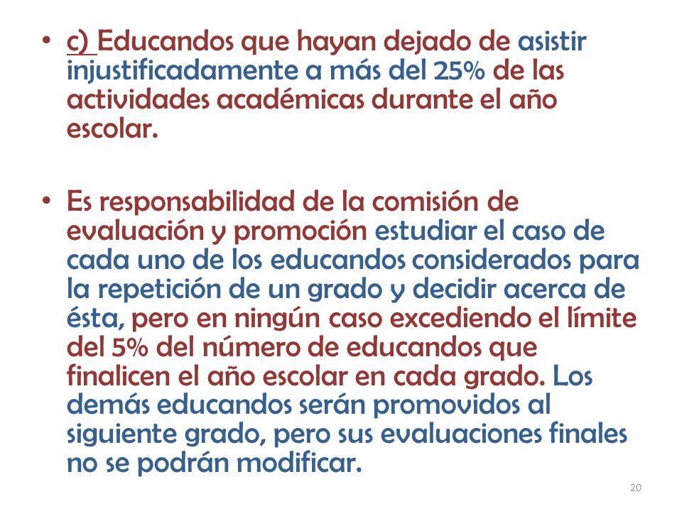 c) Educandos que hayan dejado de asistir injustificadamente a más del 25% de las actividades académicas durante el año escolar.