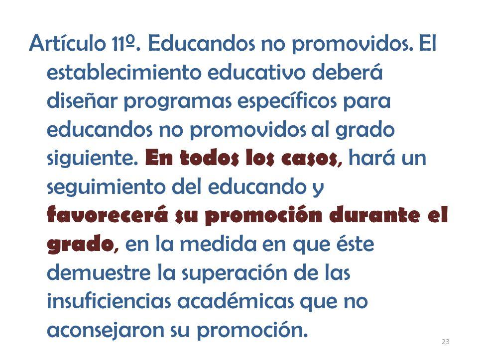 Artículo 11º. Educandos no promovidos