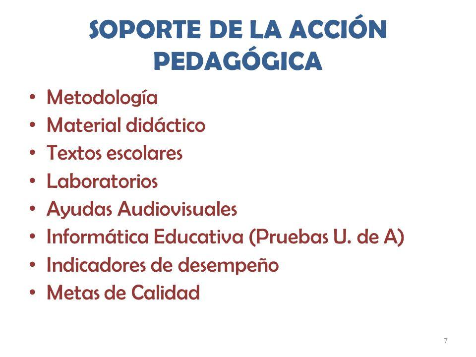 SOPORTE DE LA ACCIÓN PEDAGÓGICA