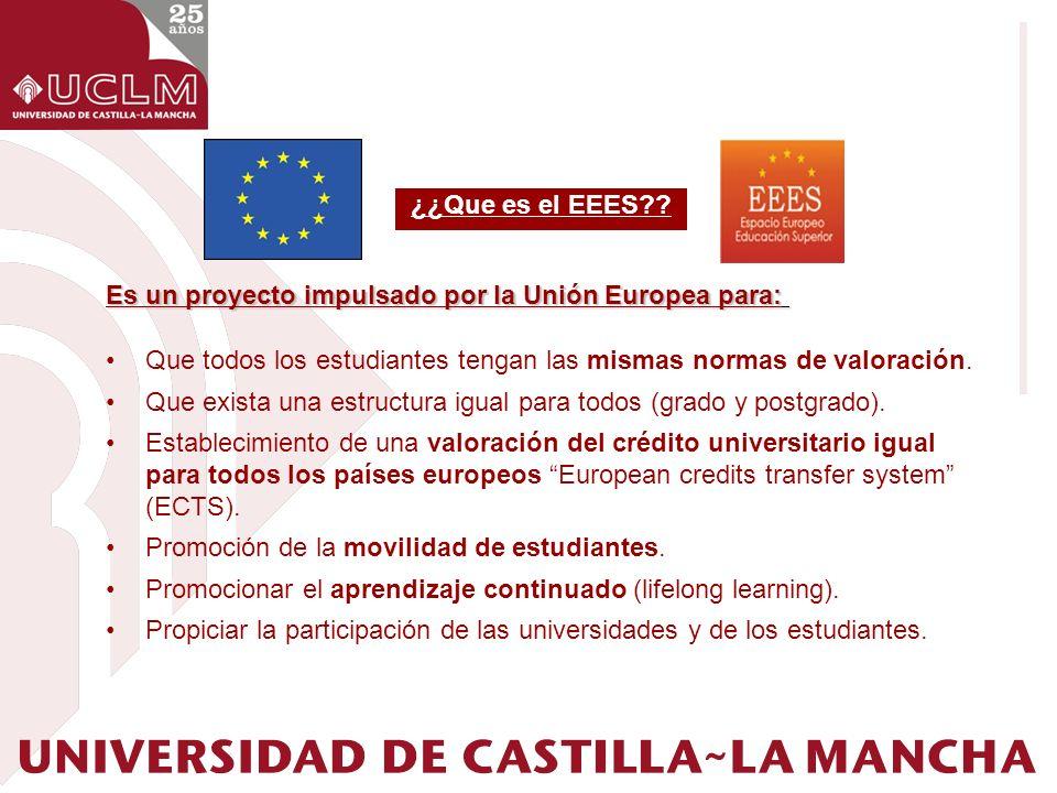 ¿¿Que es el EEES Es un proyecto impulsado por la Unión Europea para: Que todos los estudiantes tengan las mismas normas de valoración.