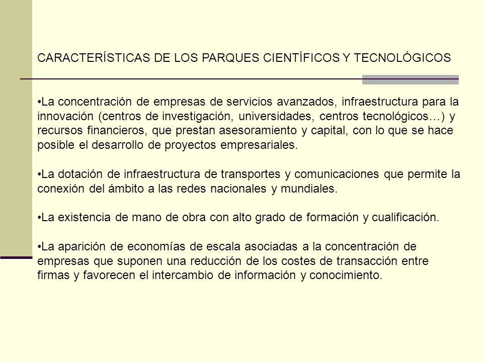 CARACTERÍSTICAS DE LOS PARQUES CIENTÍFICOS Y TECNOLÓGICOS