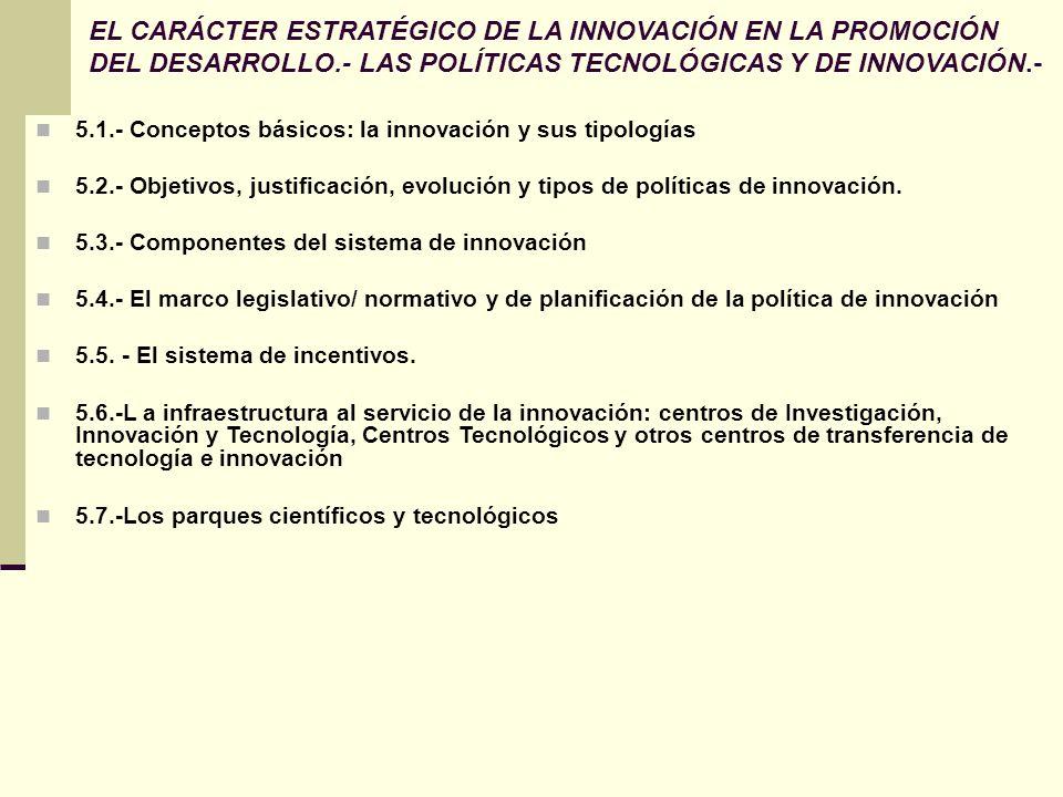 EL CARÁCTER ESTRATÉGICO DE LA INNOVACIÓN EN LA PROMOCIÓN DEL DESARROLLO.- LAS POLÍTICAS TECNOLÓGICAS Y DE INNOVACIÓN.-