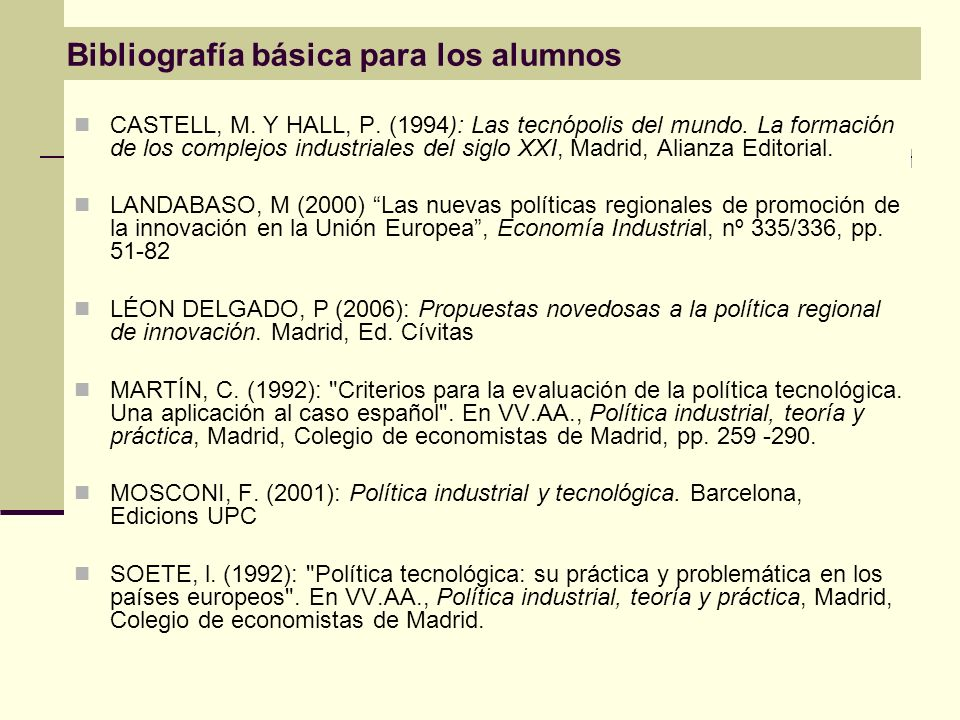 Bibliografía básica para los alumnos