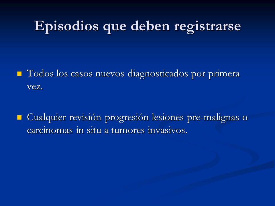 Episodios que deben registrarse
