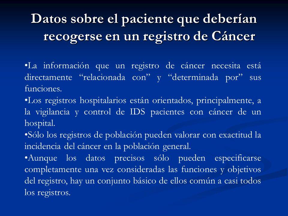 Datos sobre el paciente que deberían recogerse en un registro de Cáncer