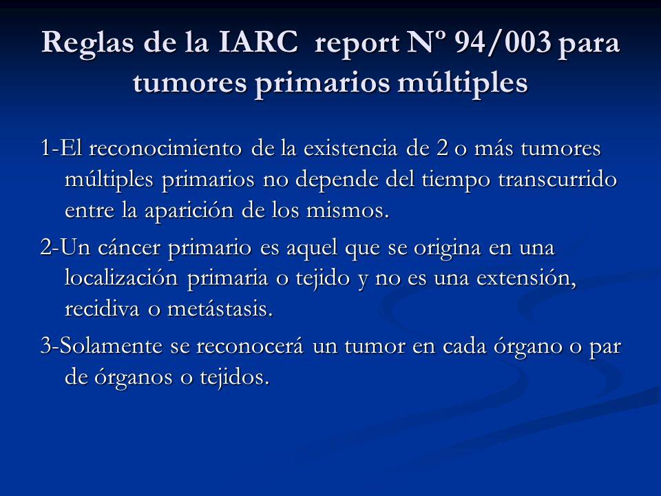 Reglas de la IARC report Nº 94/003 para tumores primarios múltiples