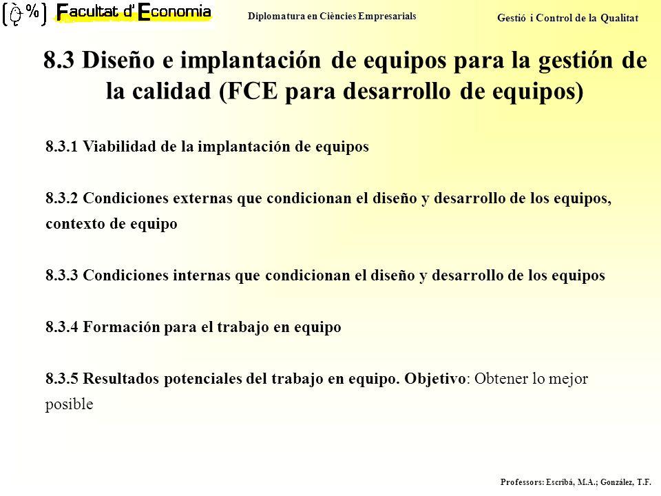 8.3 Diseño e implantación de equipos para la gestión de la calidad (FCE para desarrollo de equipos)