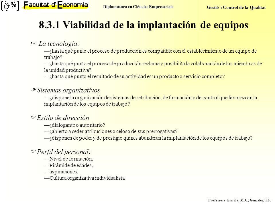 8.3.1 Viabilidad de la implantación de equipos