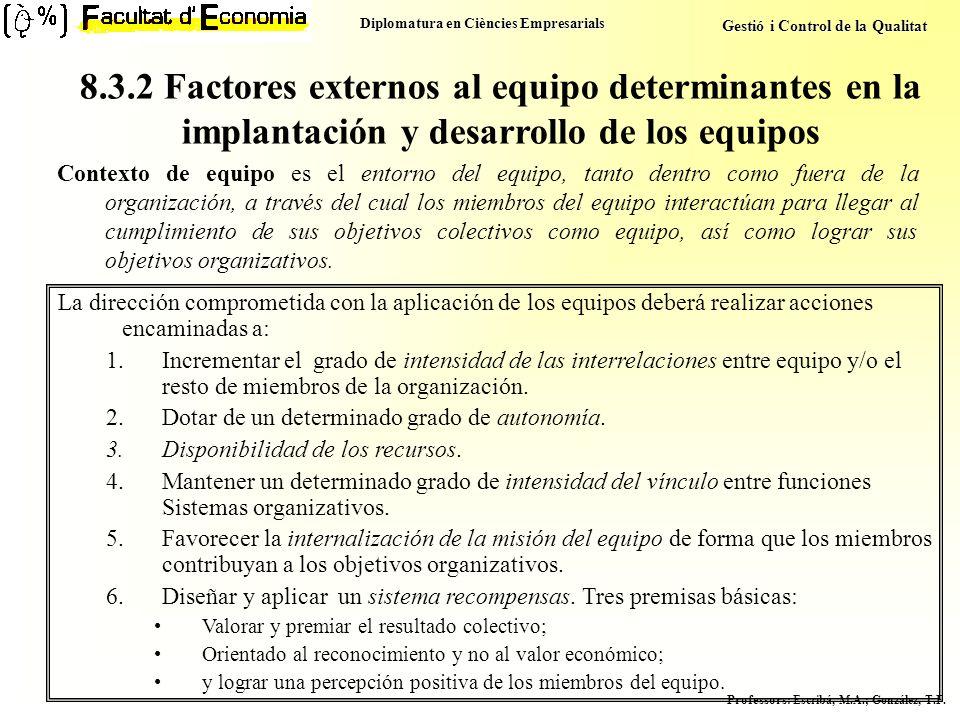 8.3.2 Factores externos al equipo determinantes en la implantación y desarrollo de los equipos