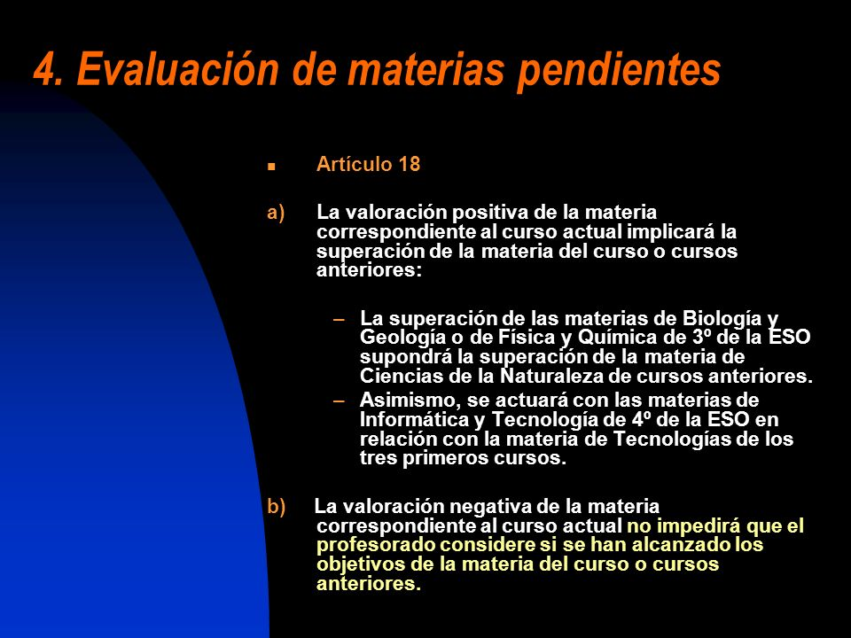 4. Evaluación de materias pendientes