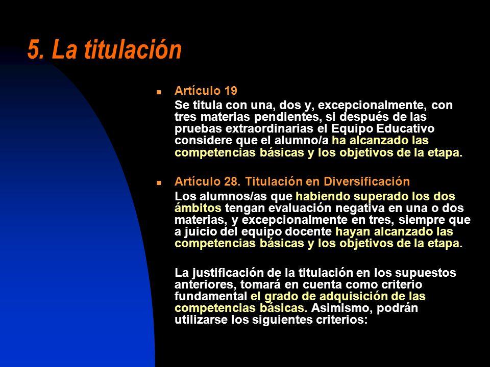 5. La titulación Artículo 19
