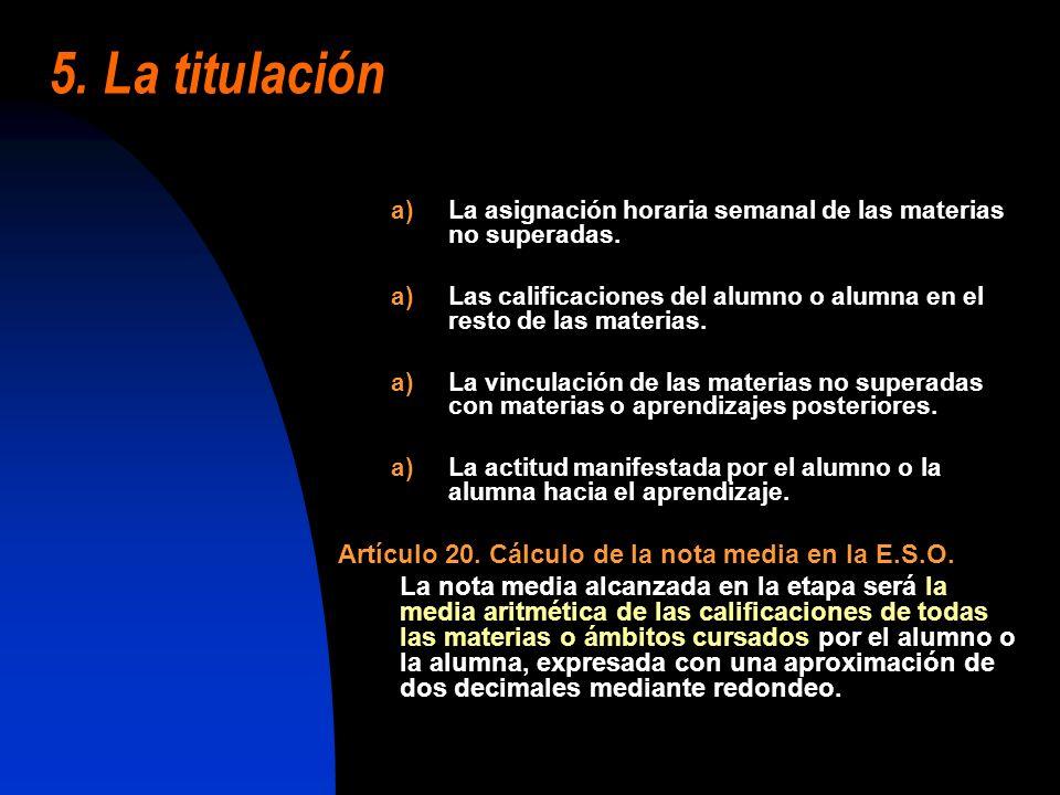 5. La titulación Artículo 20. Cálculo de la nota media en la E.S.O.