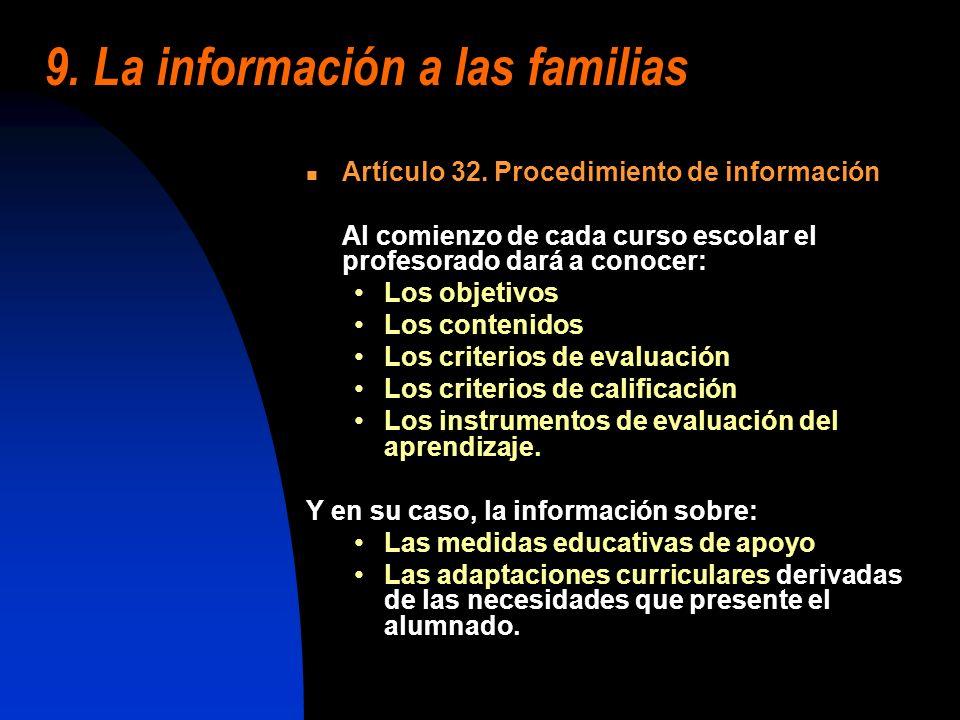 9. La información a las familias