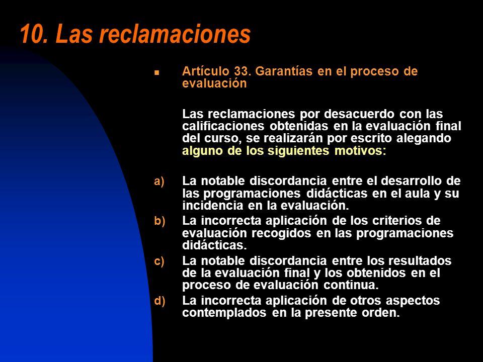 10. Las reclamaciones Artículo 33. Garantías en el proceso de evaluación.