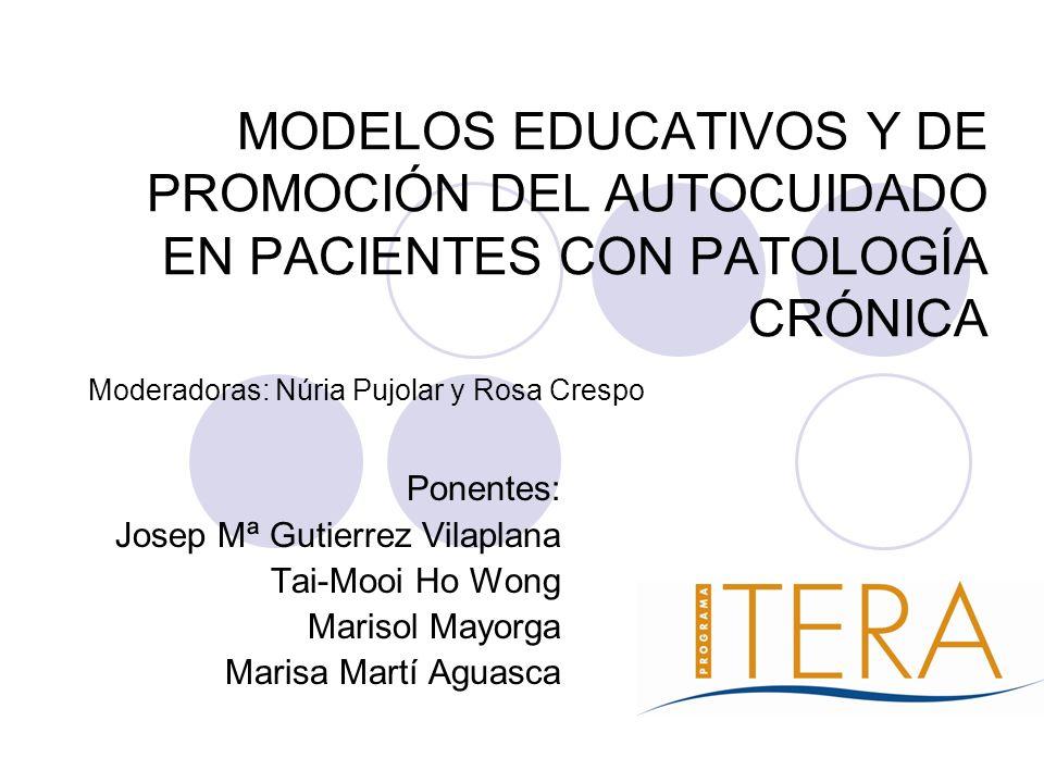 MODELOS EDUCATIVOS Y DE PROMOCIÓN DEL AUTOCUIDADO EN PACIENTES CON PATOLOGÍA CRÓNICA