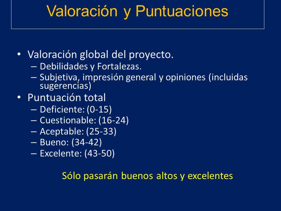 Valoración y Puntuaciones
