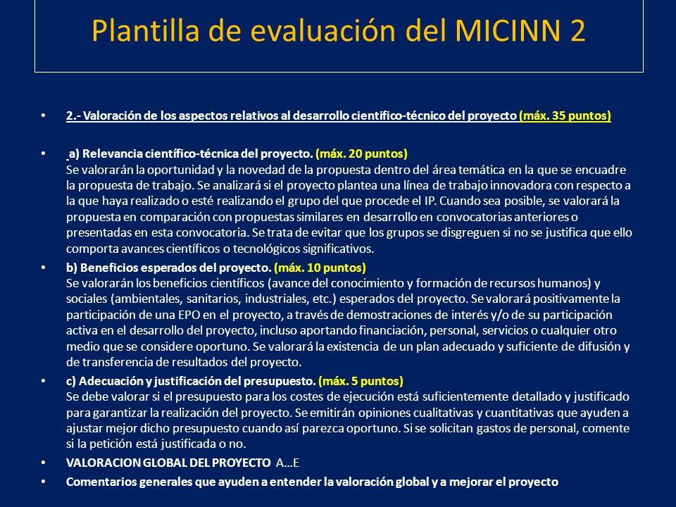 Plantilla de evaluación del MICINN 2