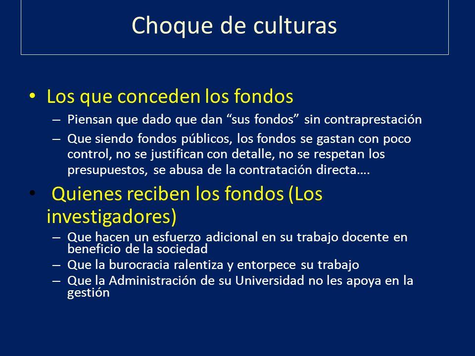 Choque de culturas Los que conceden los fondos