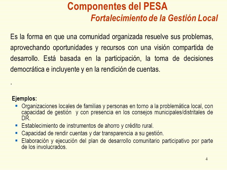 Componentes del PESA Fortalecimiento de la Gestión Local