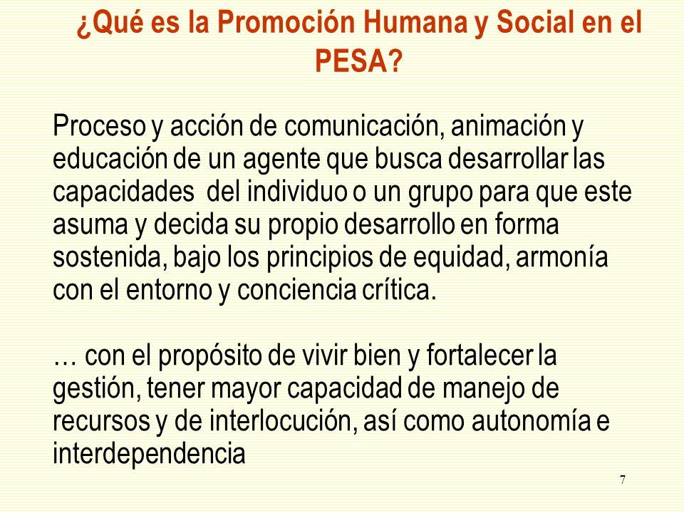 ¿Qué es la Promoción Humana y Social en el PESA