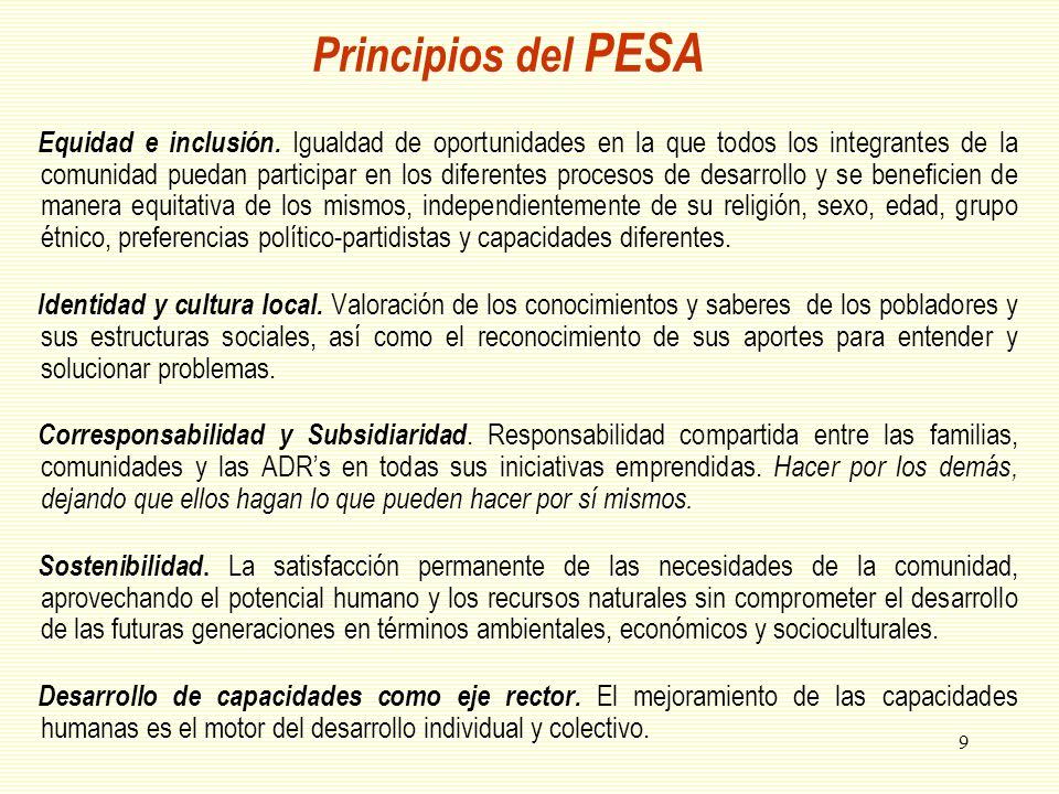 Principios del PESA