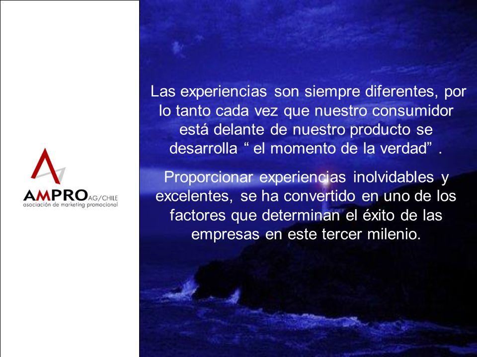 Las experiencias son siempre diferentes, por lo tanto cada vez que nuestro consumidor está delante de nuestro producto se desarrolla el momento de la verdad .