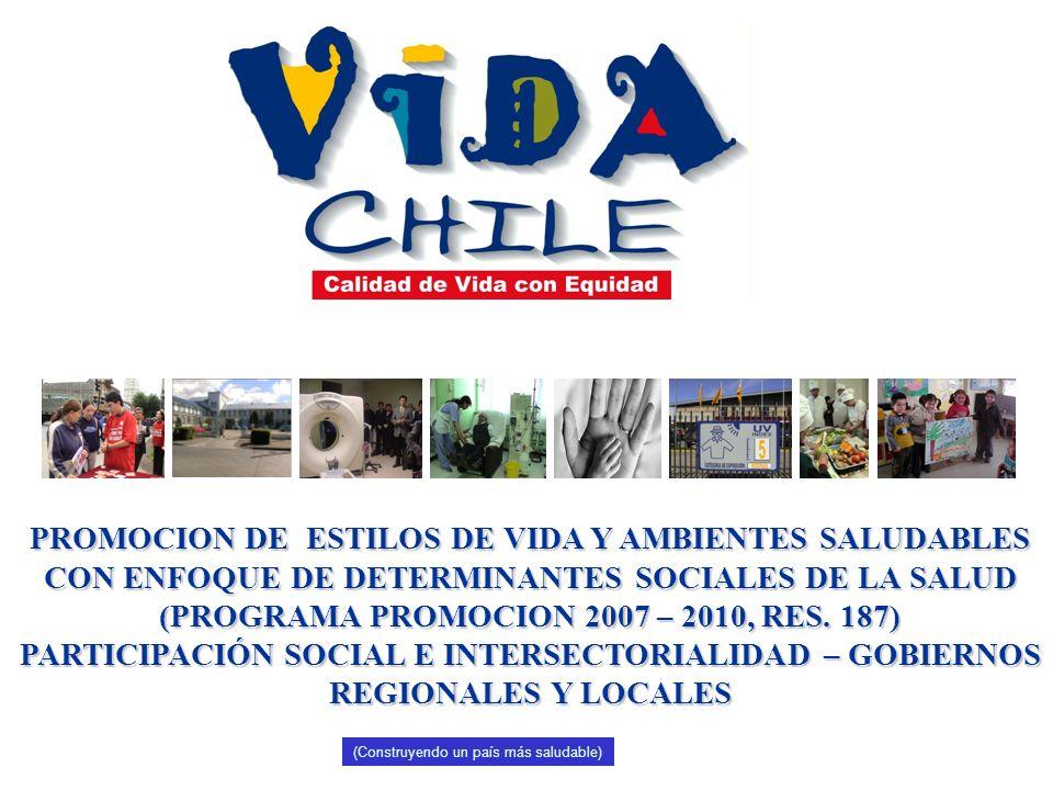 PROMOCION DE ESTILOS DE VIDA Y AMBIENTES SALUDABLES CON ENFOQUE DE DETERMINANTES SOCIALES DE LA SALUD (PROGRAMA PROMOCION 2007 – 2010, RES. 187) PARTICIPACIÓN SOCIAL E INTERSECTORIALIDAD – GOBIERNOS REGIONALES Y LOCALES