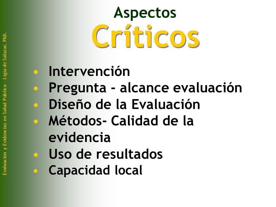 Críticos Aspectos Intervención Pregunta - alcance evaluación