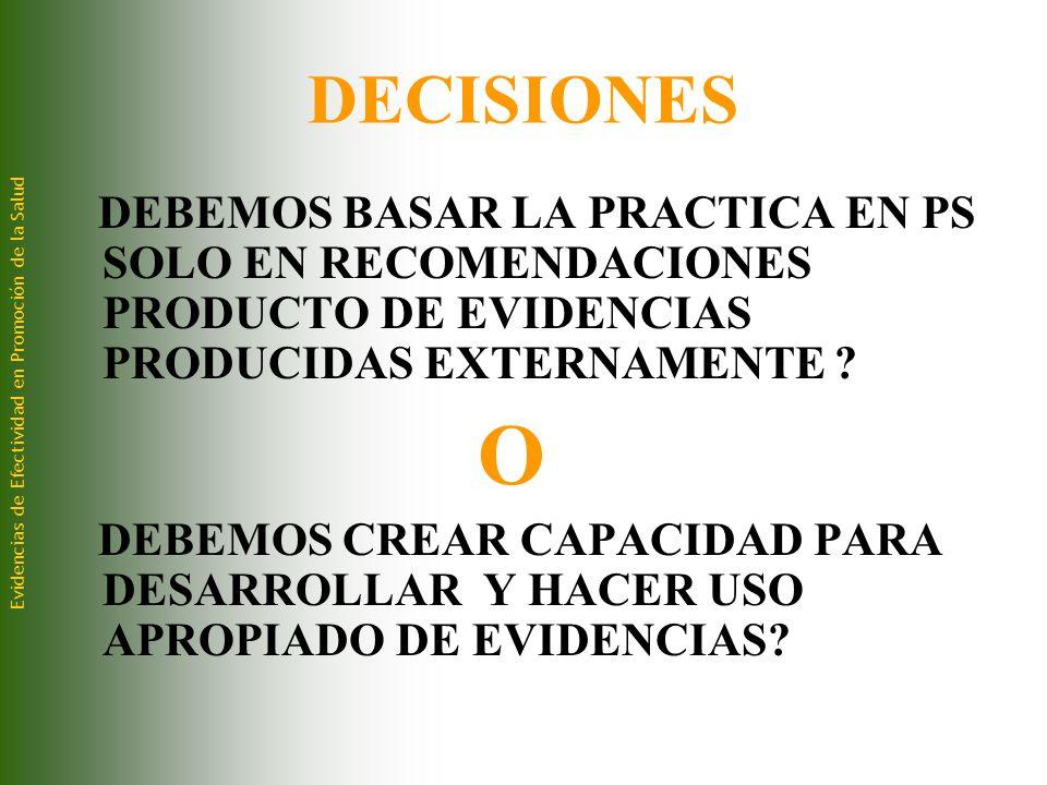 DECISIONES DEBEMOS BASAR LA PRACTICA EN PS SOLO EN RECOMENDACIONES PRODUCTO DE EVIDENCIAS PRODUCIDAS EXTERNAMENTE