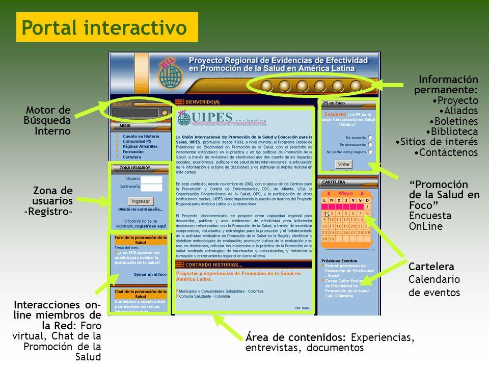 Portal interactivo Información permanente: Proyecto Aliados Boletines