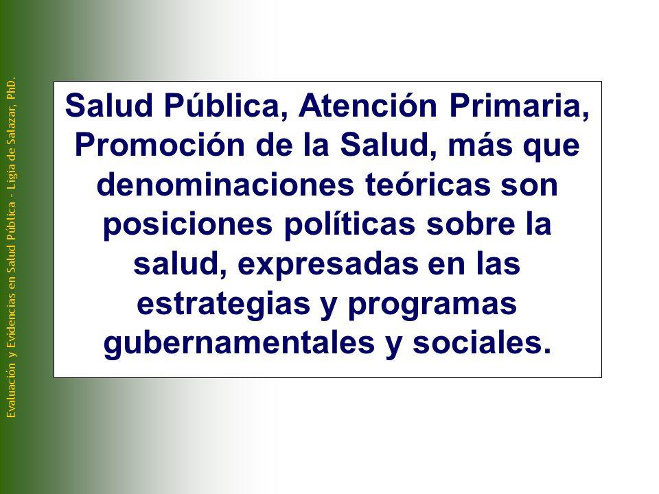 Salud Pública, Atención Primaria, Promoción de la Salud, más que denominaciones teóricas son posiciones políticas sobre la salud, expresadas en las estrategias y programas gubernamentales y sociales.