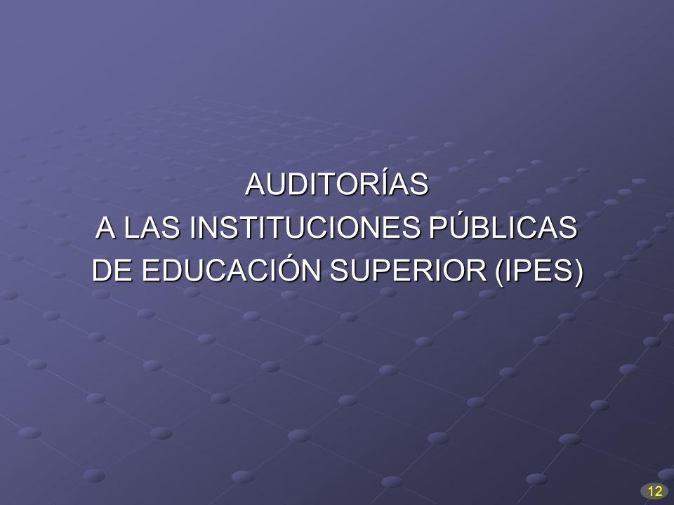 A LAS INSTITUCIONES PÚBLICAS DE EDUCACIÓN SUPERIOR (IPES)
