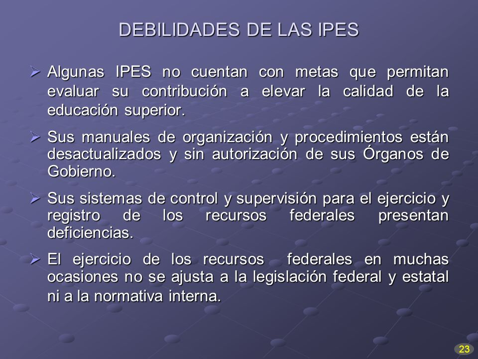 DEBILIDADES DE LAS IPES