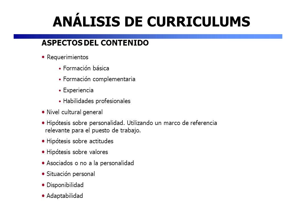ANÁLISIS DE CURRICULUMS