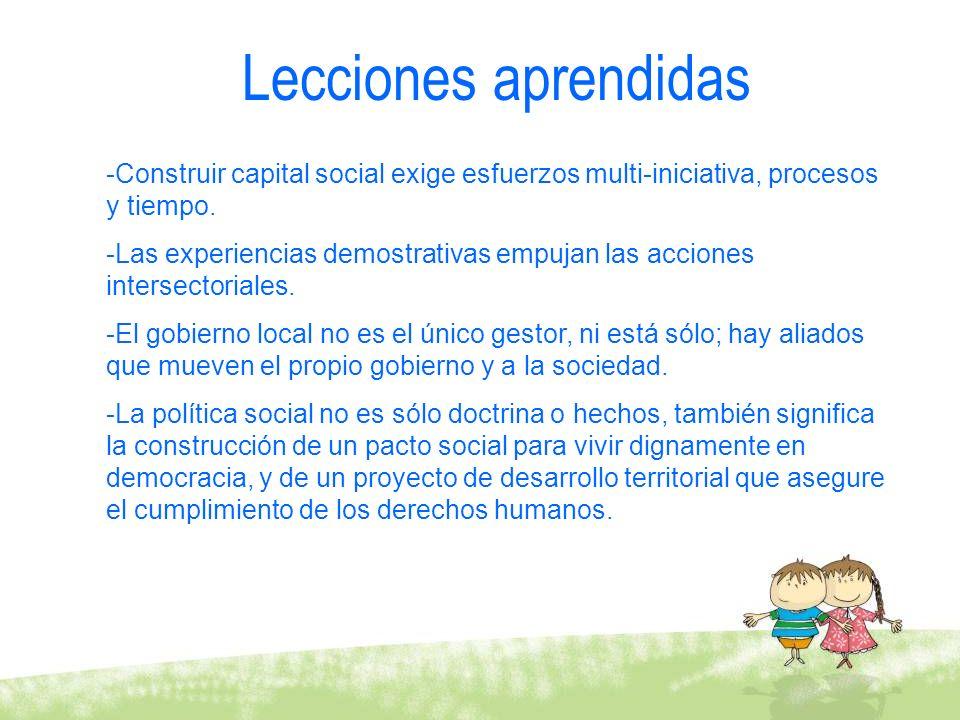 Lecciones aprendidas Construir capital social exige esfuerzos multi-iniciativa, procesos y tiempo.