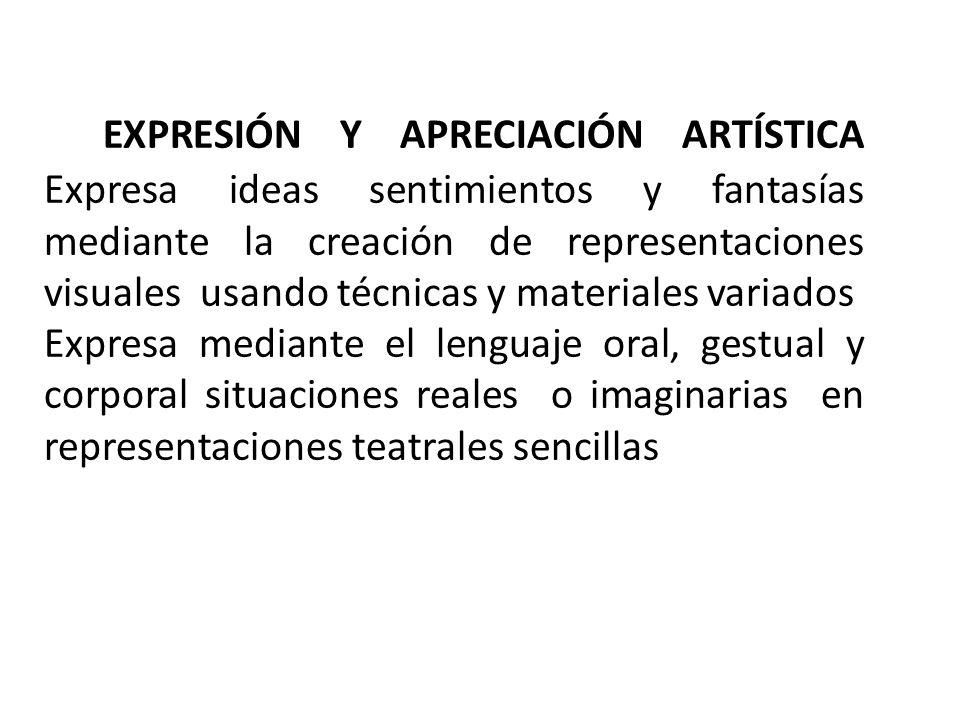 EXPRESIÓN Y APRECIACIÓN ARTÍSTICA Expresa ideas sentimientos y fantasías mediante la creación de representaciones visuales usando técnicas y materiales variados