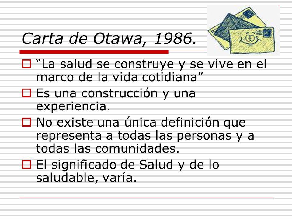 Carta de Otawa, 1986. La salud se construye y se vive en el marco de la vida cotidiana Es una construcción y una experiencia.