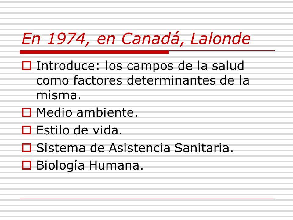 En 1974, en Canadá, Lalonde Introduce: los campos de la salud como factores determinantes de la misma.