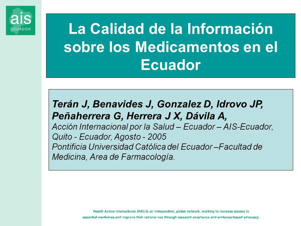 La Calidad de la Información sobre los Medicamentos en el Ecuador