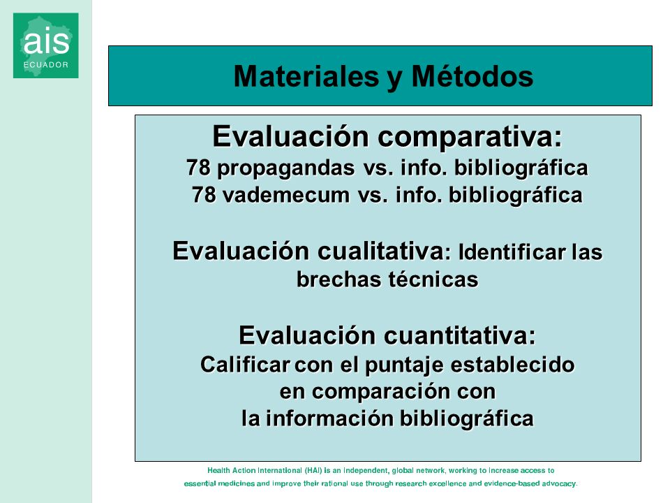 Evaluación comparativa: 78 propagandas vs. info. bibliográfica