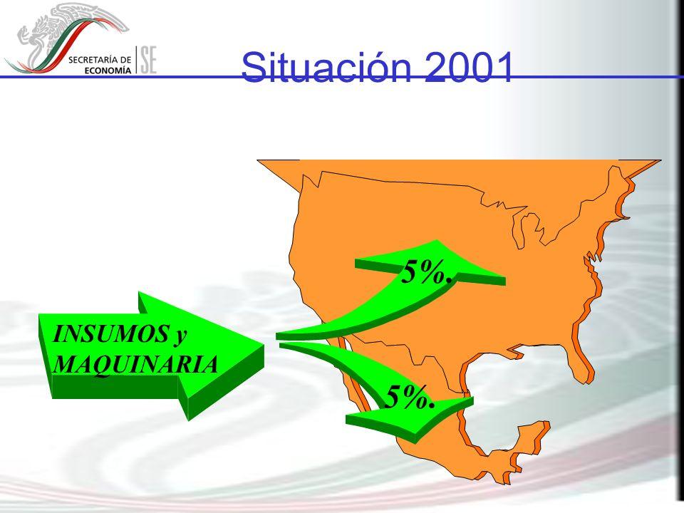 Situación 2001 5%. INSUMOS y MAQUINARIA 5%.