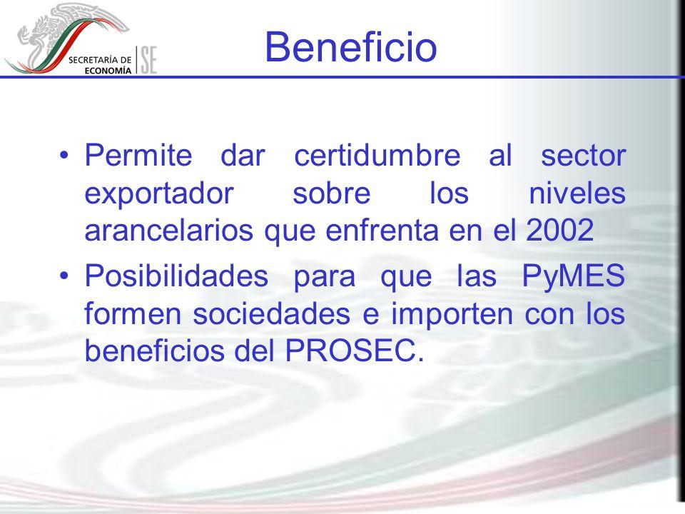 Beneficio Permite dar certidumbre al sector exportador sobre los niveles arancelarios que enfrenta en el 2002.