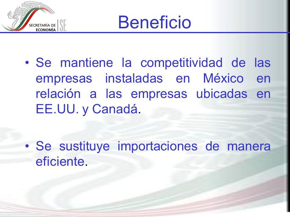 Beneficio Se mantiene la competitividad de las empresas instaladas en México en relación a las empresas ubicadas en EE.UU. y Canadá.