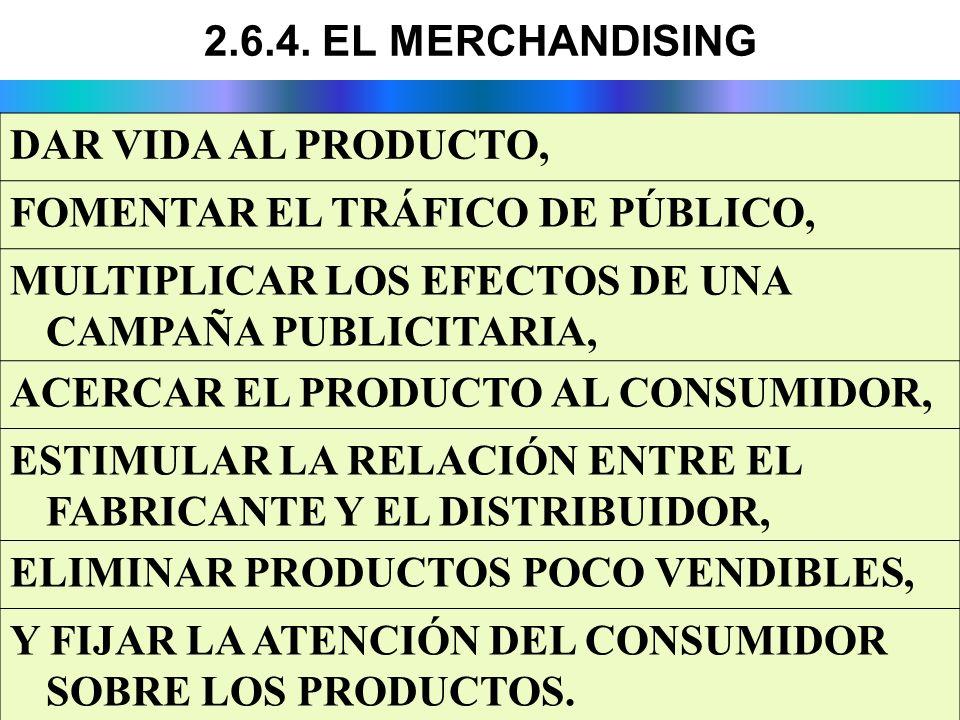 2.6.4. EL MERCHANDISING DAR VIDA AL PRODUCTO, FOMENTAR EL TRÁFICO DE PÚBLICO, MULTIPLICAR LOS EFECTOS DE UNA CAMPAÑA PUBLICITARIA,