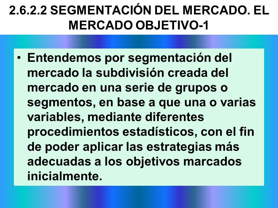2.6.2.2 SEGMENTACIÓN DEL MERCADO. EL MERCADO OBJETIVO-1